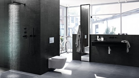 Geberit in-wall toilet system with Sigma50 flush plate and Duravit Starck 2 toilet