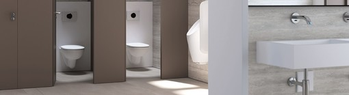 Public sanitary installations with Geberit urinals and partition walls