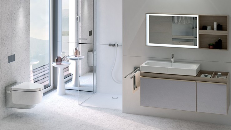 Geberit in-wall toilet tank flushing system for wall-hung toilet; Geberit in-wall system for wall-hung vanity