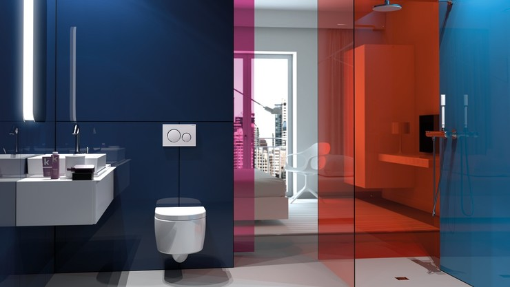 Geberit in-wall toilet system with Sigma20 flush plate