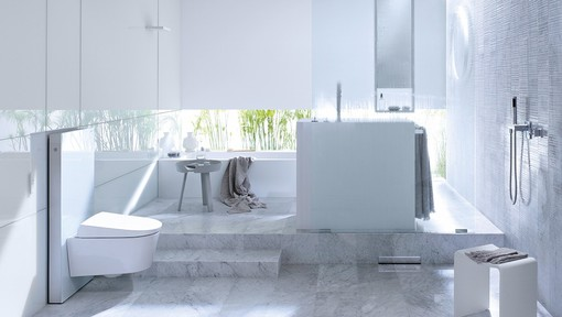 Bathroom with Geberit Monolith for wall-mount toilet in white glass