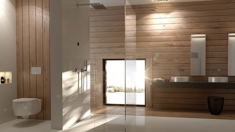 Bathroom with Geberit Sigma70 in white glass