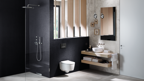 Geberit in-wall toilet system with Sigma50 flush plate in black glass