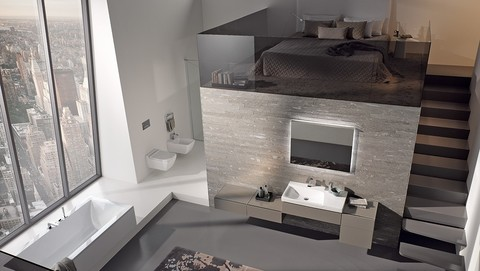 Bathroom with Geberit AquaClean Mera shower toilet shower toilet and Monolith sand