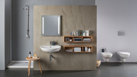 Bathroom with Geberit in-wall lavatory sink systems and wall mount lavatory sink