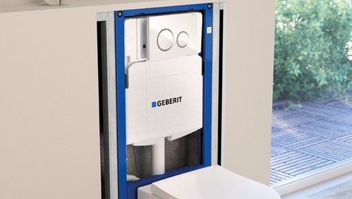 Geberit Duofix in-wall toilet tank flushing system with Sigma50 flush plate