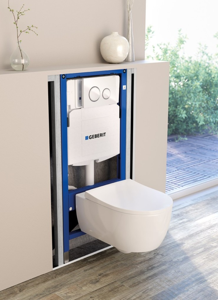 Geberit in wall flush toilet tank systems for wall hung for Geberit installation system