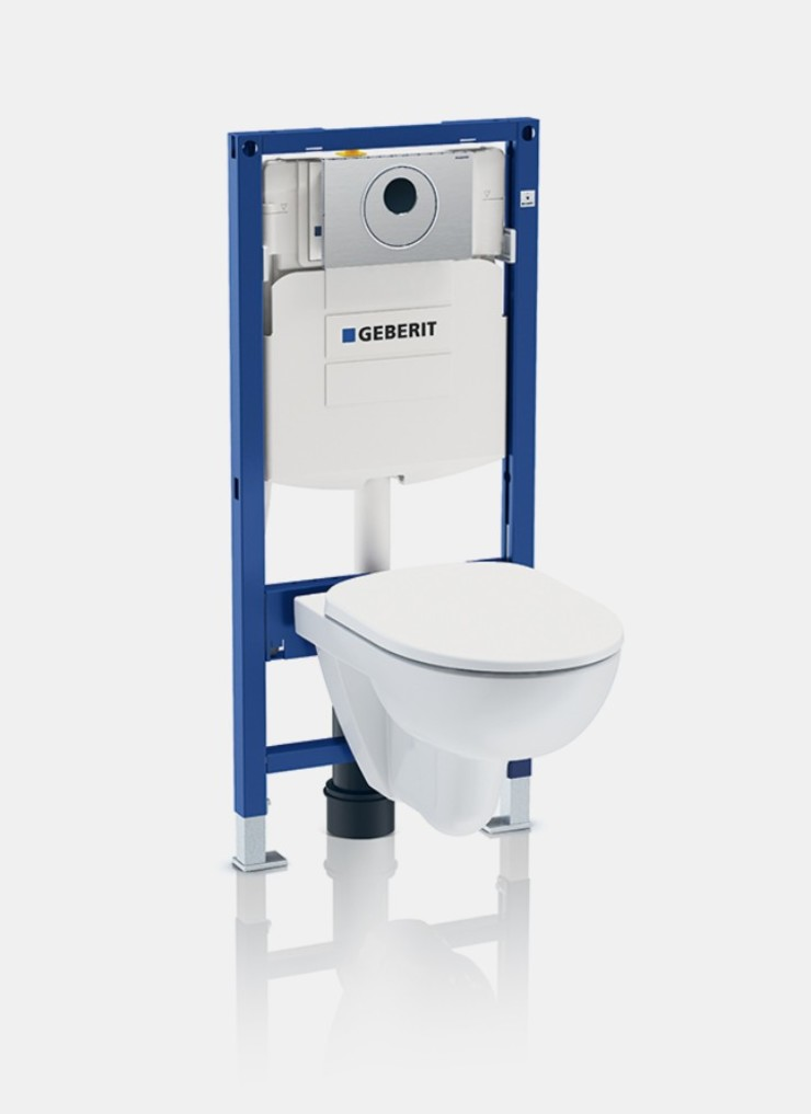 Touchless flush with Geberit in-wall toilet system