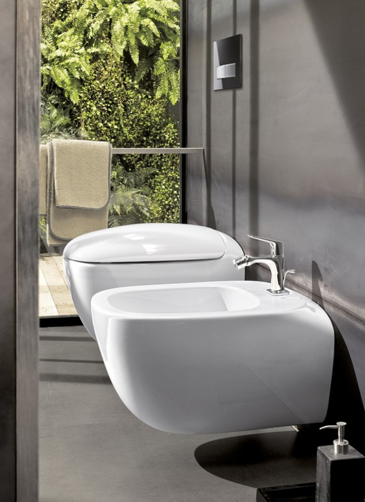 Matching toilet with bidet - Geberit in-wall toilet and bidet toilet systems in a contemporary bathroom
