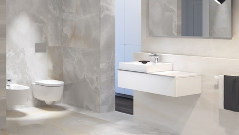 Bathroom with Geberit in-wall lavatory sink systems and ADA wall mounted sink