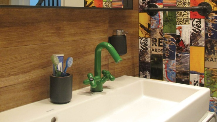 Washbasin in skateboard themed bathroom, Greenwich Village